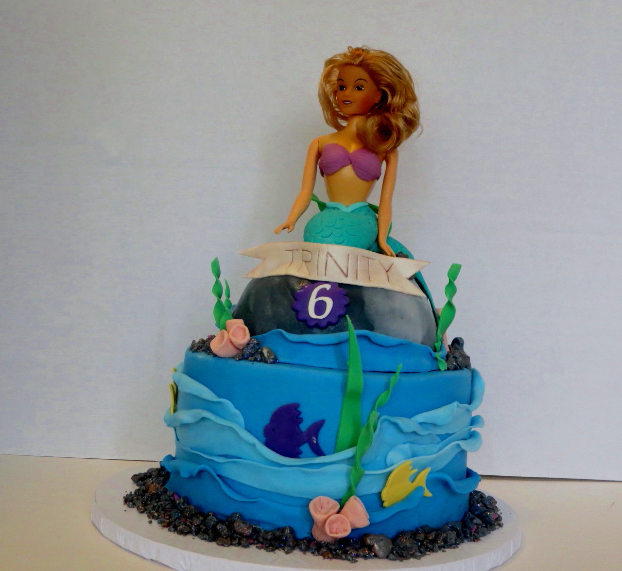 Peachy Trinitys Mermaid Birthday Cake Blue Ivy Cakery Personalised Birthday Cards Veneteletsinfo